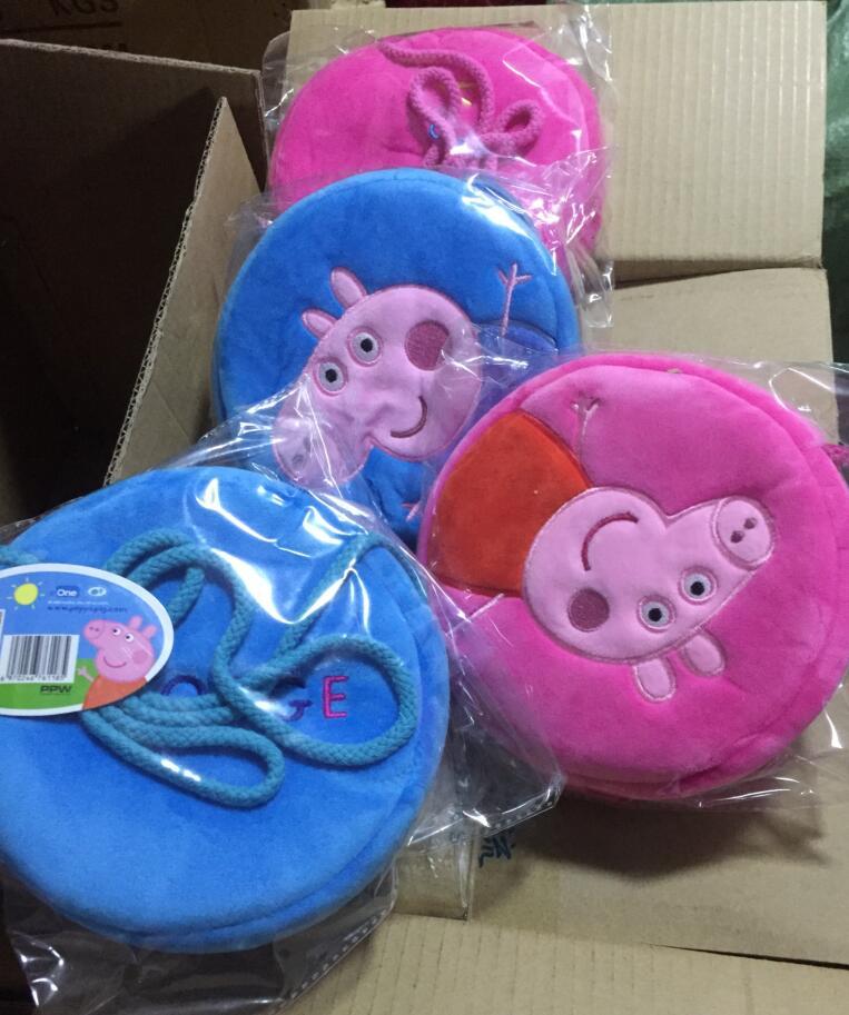 Genuine Peppa Pig 16*16cm Plush Backpacks kids coin purse peppa Goerge round bag plush toys kids cute gift toy 1pc 4