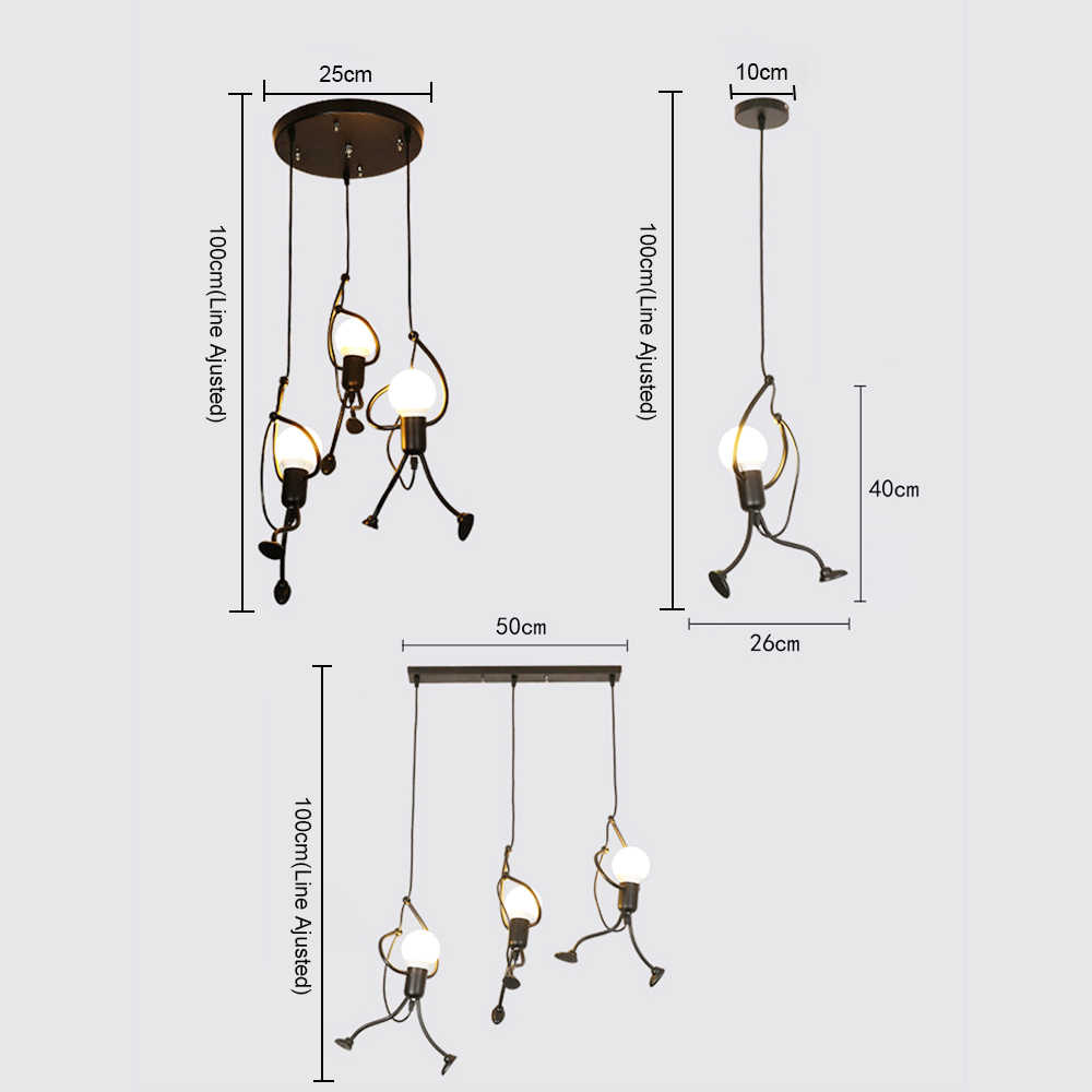 Креативный подвесной светильник для скалолазания маленького человека для детской комнаты, подвесной светильник с металлическим шнуром, подвесные лампы, художественное украшение, подвесной светильник s