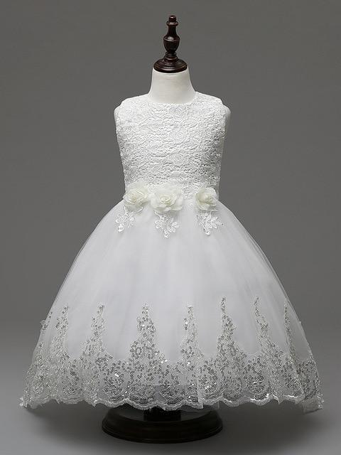 Children White Kids Girls Party Gown Formal Dress Sequins 3d Flower ...