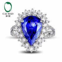 CaiMao 18KT/750 Weißes Gold 5,11 ct Natürlicher WENN Blau Tansanit AAA 1,25 ct Round Cut Diamond Engagement Edelstein Ring Schmuck