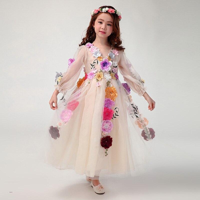 Girl  beautiful faery stereo petals princess long dress 2016 от Aliexpress INT