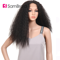 Sambraid 24inch long kinky straight lace synthetic hair wig For Women Curly Synthetic Lace Front Wig