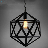 Retro Vintage Pendant Lights Geometry Iron Art Pendant Lamps Cage Lampshade for Restaurant Bar Cafe Living Room Indoor Lighting|Pendant Lights| |  -