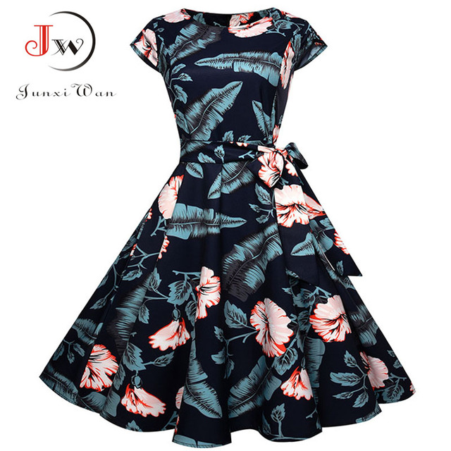 Women Summer Floral Dress 2018 50s Vintage Casual Elegant Print O Neck Party Work Office Dress Retro Rockabilly Vestidos 1