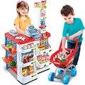 Brinquedo de simulação de Cena Casa de Luxo para Crianças de Compras de Supermercado Carrinho Máquina de Digitalização de Prata Frutas