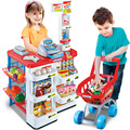 Simulation Toy Supermarket Checkout Scene Luxury Children House Shopping Cart Scanning Machine Silver Fruit