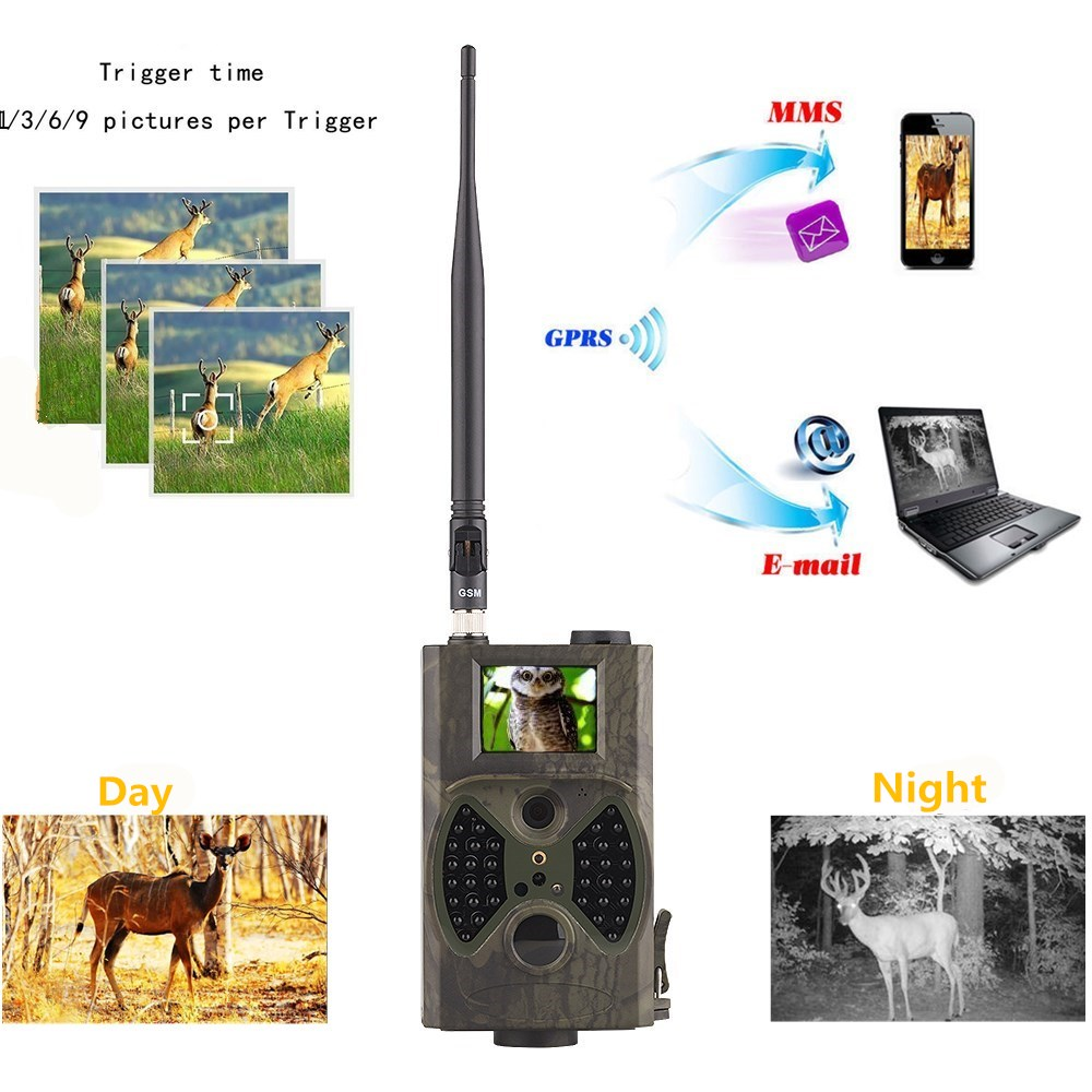 Photo traps Hunting Camera HC300M 12MP HD1080P 2.0 LCD Trail Camera With MMS GPRS SMTP GSM Trail Hunt Game Recorder video cam arduino atmega328p gboard 800 direct factory gsm gprs sim800 quad band development board 7v 23v with gsm gprs bt module