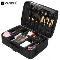 Vander Black Makeup Bag Professional Organizer Makeup Brushes Shoulder Case Cosmetic Bag Large Capacity Storage Art