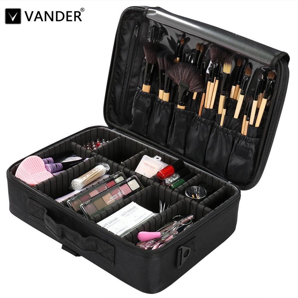 Vander noir sac de maquillage professionnel organisateur pinceaux de maquillage étui à bandoulière sac cosmétique grande capacité de stockage Art boîte à outils