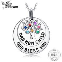 JewelryPalace God Bless You Multicolor Created Sapphire Nano Russian Simulated Emerald Pendant 925 Sterling Silver 2018 New Hot