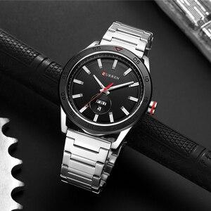 Image 4 - CURREN zegarki dla mężczyzn mężczyzna luksusowy pasek ze stali nierdzewnej zegarek na co dzień styl kwarcowy na rękę zegarek z kalendarzem czarny zegar mężczyzna prezent