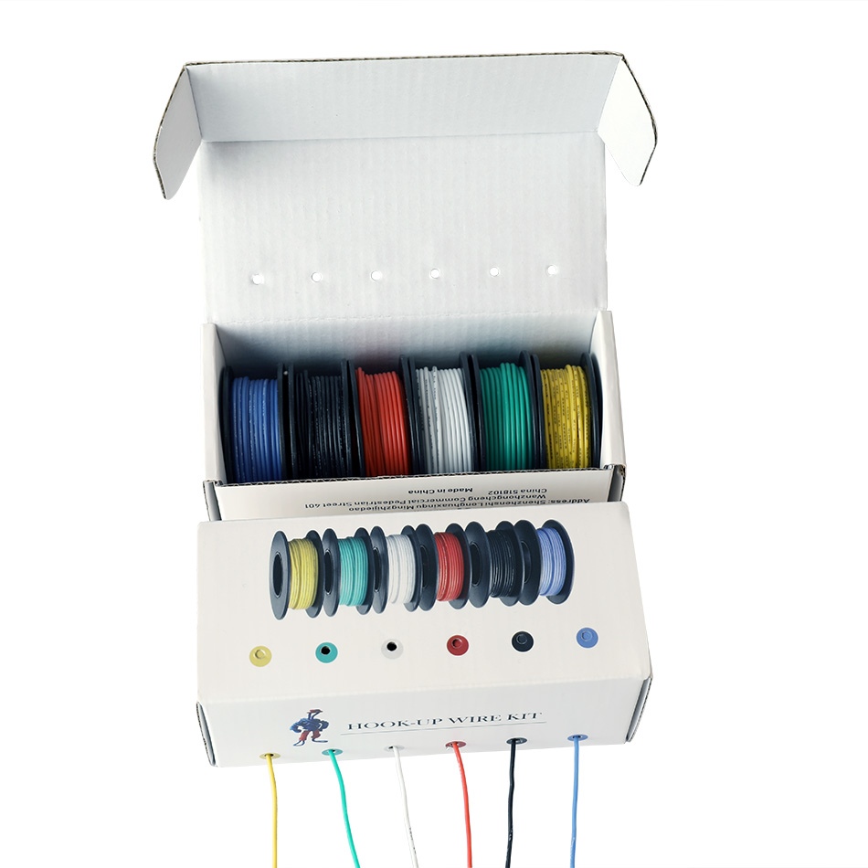 60m/box 196ft Hook-up Stranded Wire 24 AWG UL3132 Flexible Silicone Electronic Wire Rubber Insulated Tinned Copper 300V 6 Colors