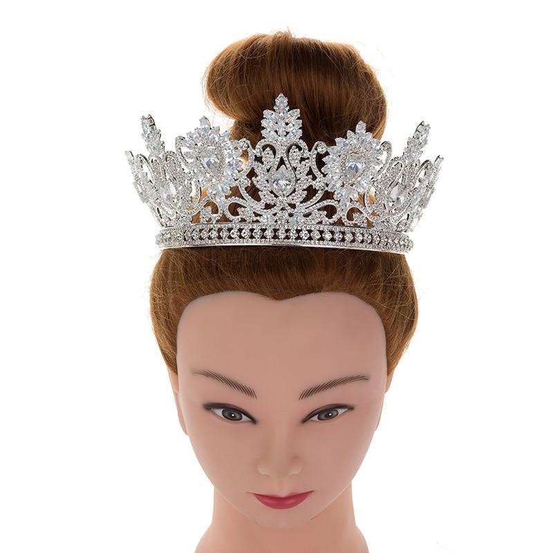 Tiaras And Crowns Wedding Bridal Vintage Pattern Styles High Quality Cubic Ziconia Tiara Women Elegant BC4593