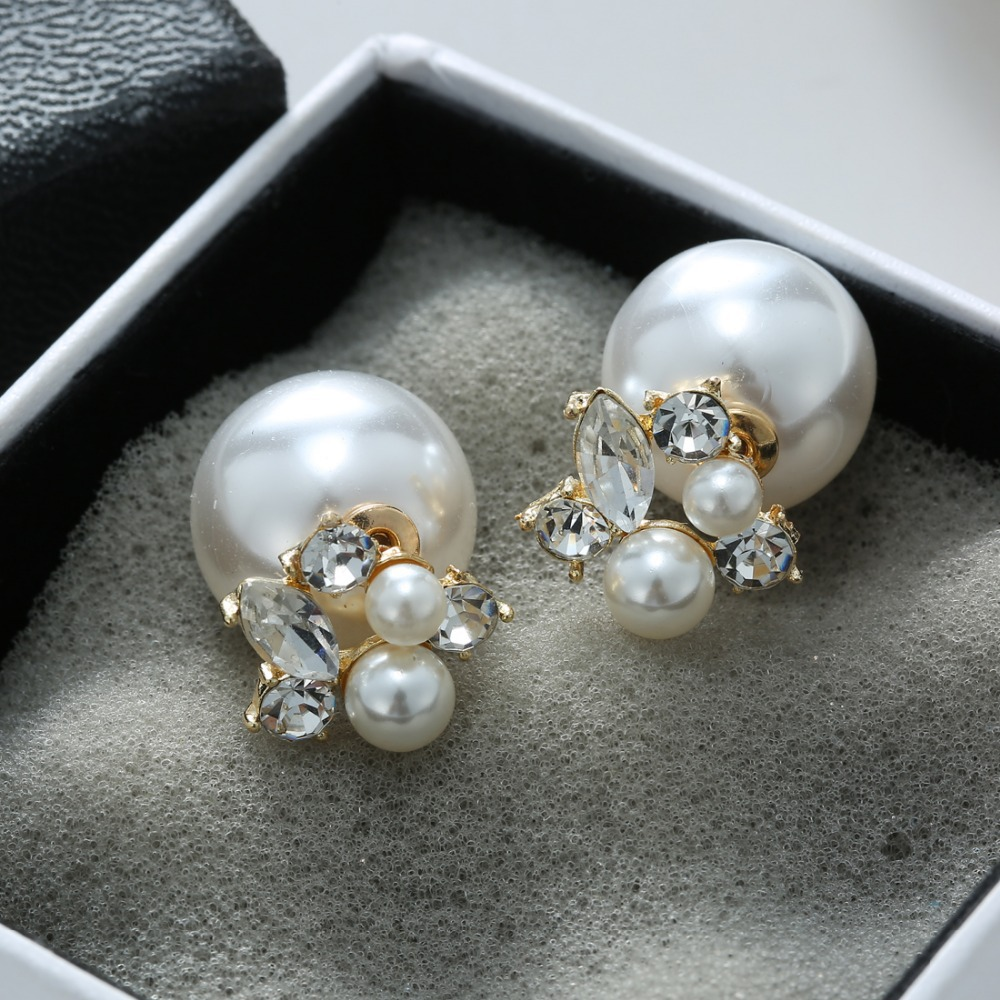 women freshwater fashion with item simulated for flower earrings color pearl stud plated pearls new trendy real from jewelry gold in