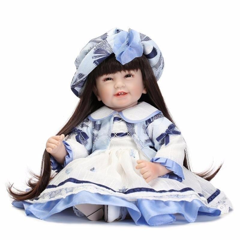 55 cm/22 pouces fait à la main Reborn Silicone longhair souriant doux vinyle Silicone Reborn poupée bébé reborn menina silicone realista