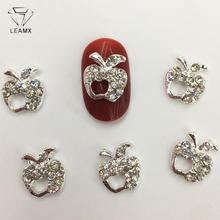 LEAMX 10 PCS/bag Nails Charms Rhinestone Apple Art Decorations 3D Silver Metal Nail Jewelry Accessories Stud Tip L430