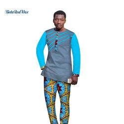 Новые традиционные африканские Стиль Костюмы Для мужчин одежда хлопок топ и брюки наборы Африканский воск печати 2 шт. брюки наборы для для