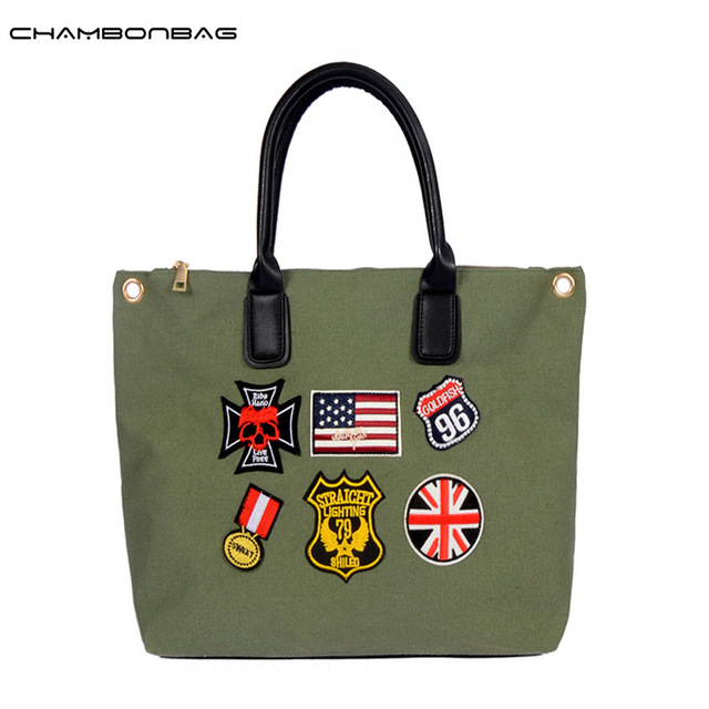 Big Large Women Canvas Bag Handbag Medals Shoulder Bags Casual Ladies Handbags Female Shopping Shoulder Tote Bags Bolsa N495