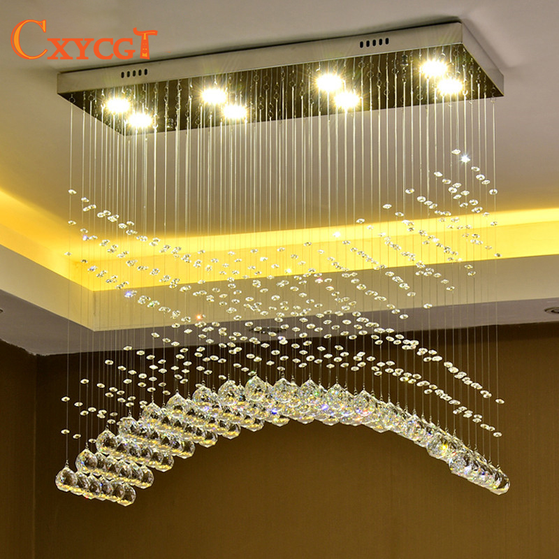 Modern Crystal LED Ceiling Light Fixture Rectangle Curtain Wave Shape Lamp for Dining Room Kitchen Foyer