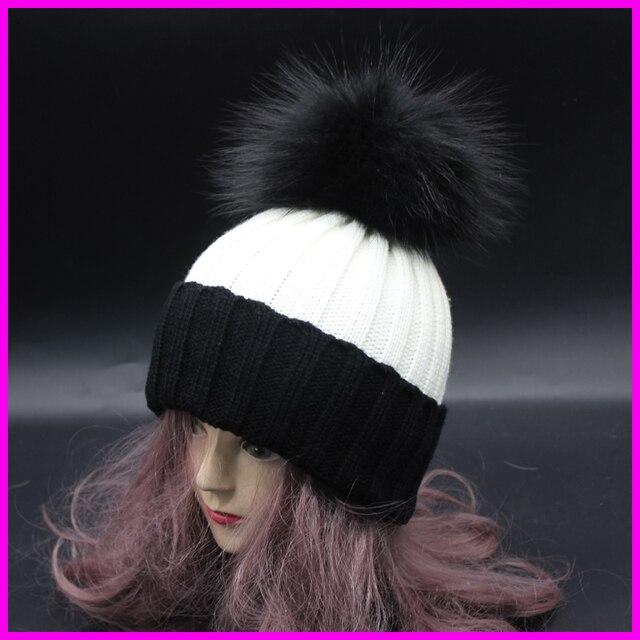 2016 Ladies Winter Fur Hats For Women Colorful Fur Pom Poms Bobble Hat Female Patchwork Knit Caps