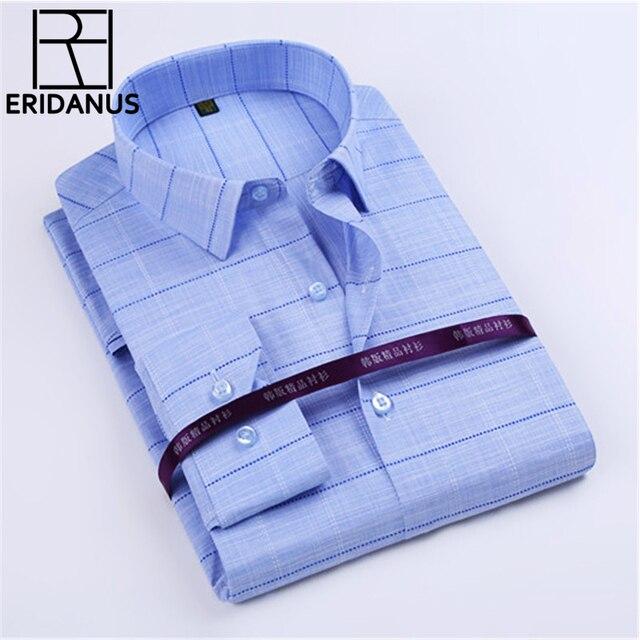 ERIDANUS 2017 Spring New Arrival Men Shirt Fashion Designer Long Sleeve Slim Fit High Quality Casual Cotton Shirt 4XL M479