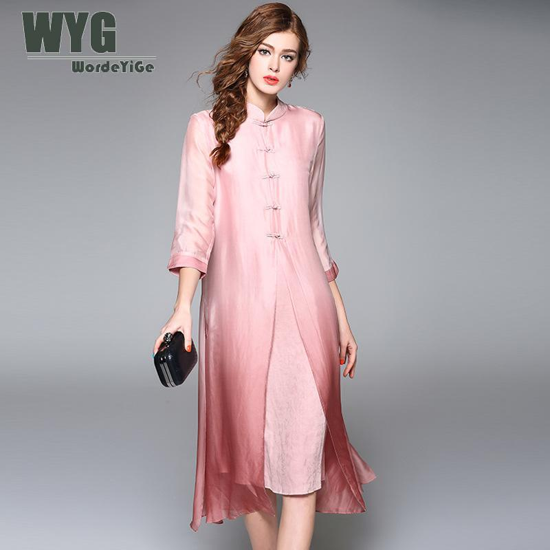 Chinese Style Modern Cheongsam Qipao Dress Women 2018 Spring New Faux Two Piece Pink Loose Silk Plus Size Dresses XXXL WYG