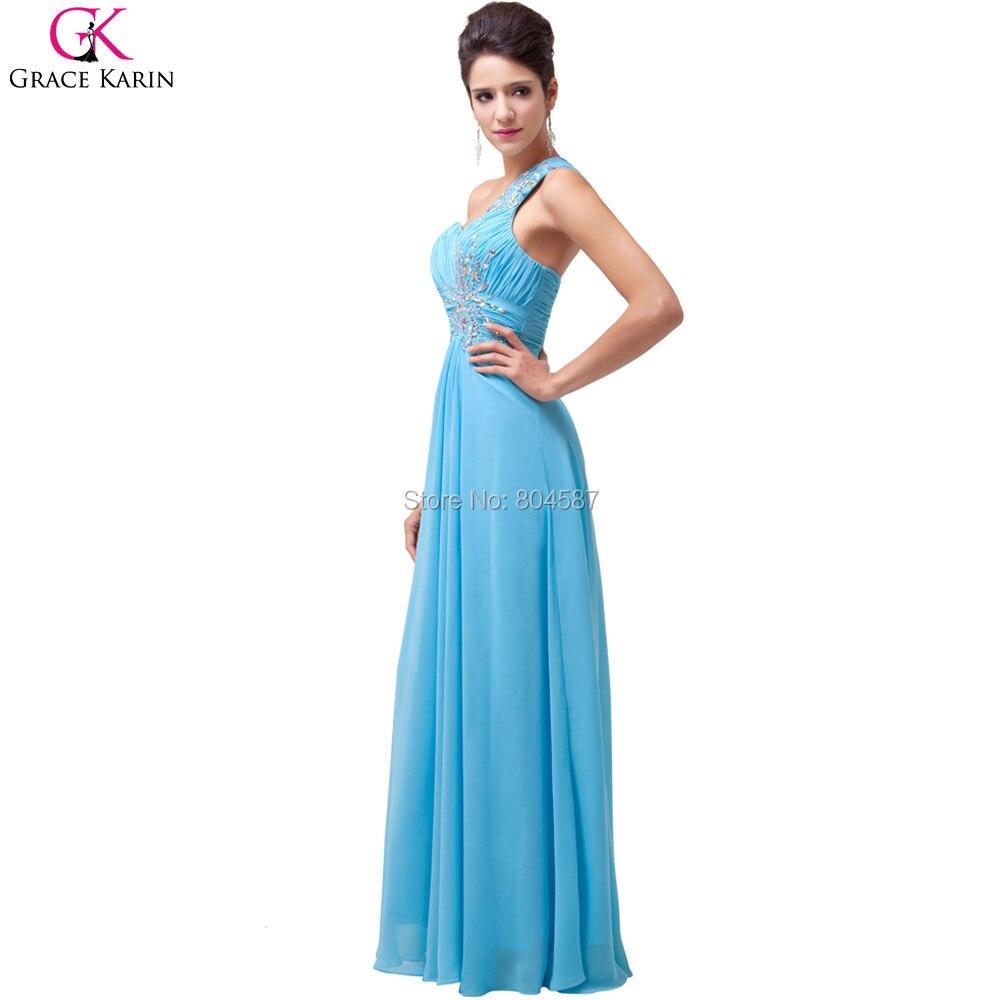 Abendkleider Grace Karin One Shoulder Beaded Vestido Long Light Blue ...