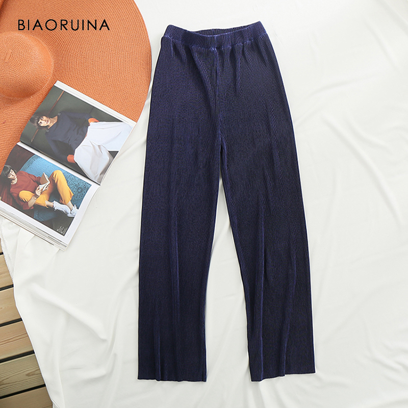 BIAORUINA Women's Fashion Comfortable Elastic High Waist Pleated   Wide     Leg     Pant   Female Loose Casual Ankle-Length   Pant   Trousers