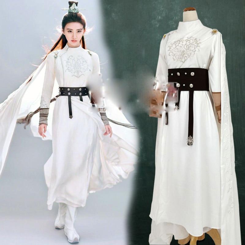 Jing Tian White Narrow Sleeve Sword Lady Hanfu For TV Play The King Of Blaze Stage Performance Drama Costume Female Hanfu