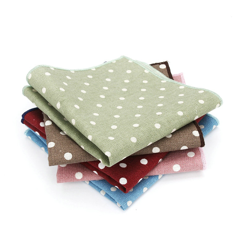 25*25CM Brand New Men's Linen Cotton Pocket Square Polka Dot Handkerchief Chest Towel Prom Wedding Party Suit Hankies Gift