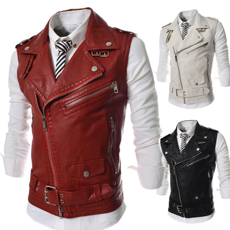 New PU Leather Moto Sleeveless Jacket Men Brand Men's Blazer Coat Male Masculino Slim Fit Fashion Style Top Clothes Plus Size