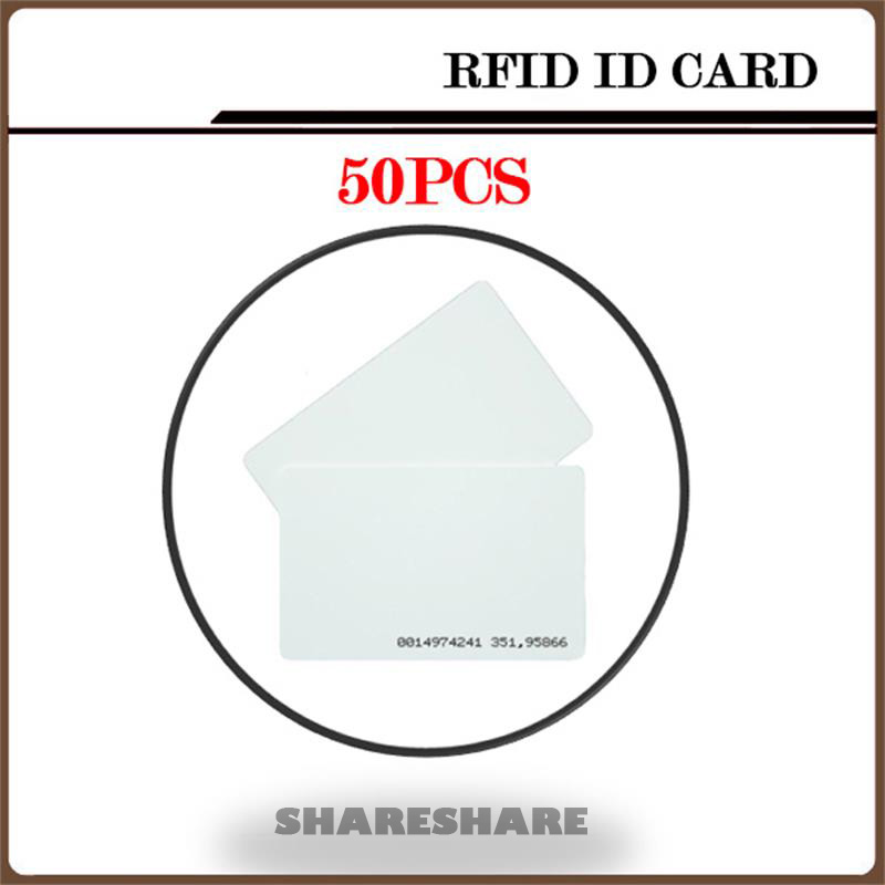 50Pcs/Lot White Plastic Id Card RFID Card Etiquetas Nfc 125KHZ RFID Card For Access Control System and timeclock SHARESHARE 100pcs lot printable pvc blank white card no chip for epson canon inkjet printer suitbale portrait member pos system