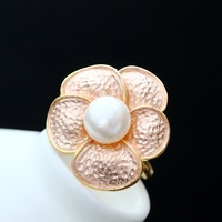 925 sterling silverMosaic gold ring Natural pearls big petals open the silver female ring