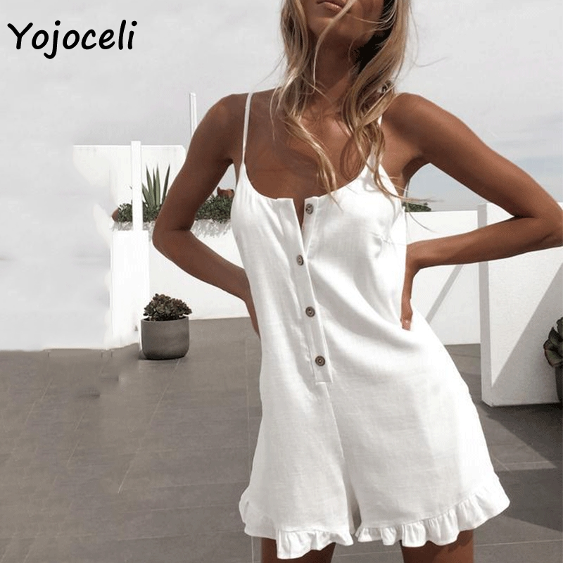 Yojoceli white cotton casual   jumpsuit   romper women strap boho beach short playsuit 2019 summer female overalls