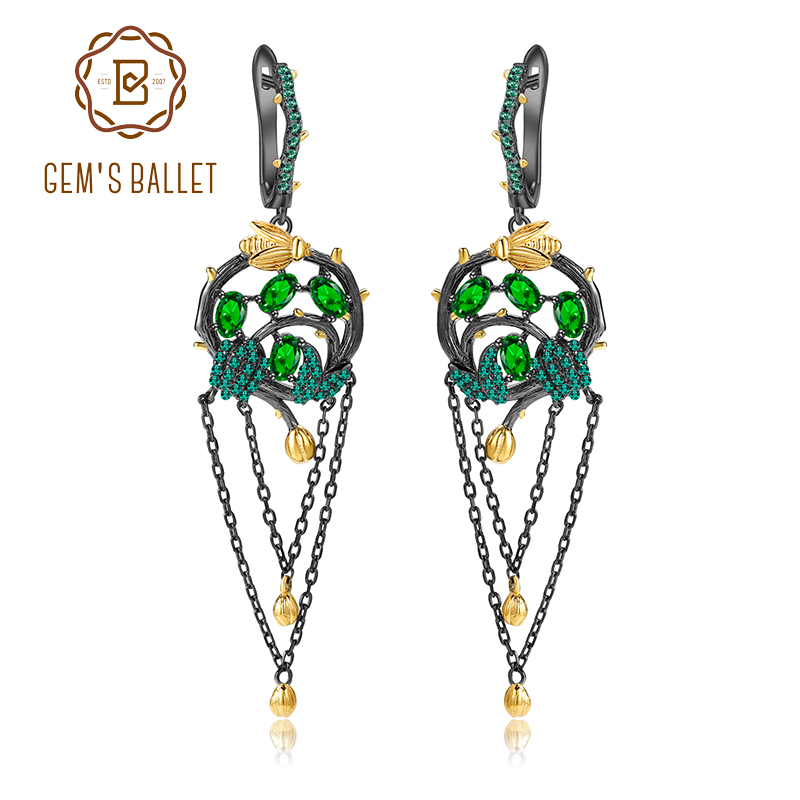 GEM S BALLET Natural Chrome Diopside Gold Bee on Branch Earrings 925 Sterling Silver Handmade Tassel