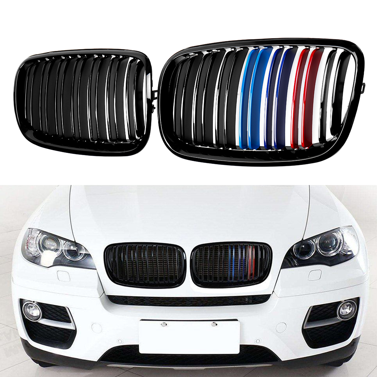 A Pair Car Racing Grille For BMW 2007-2013 X5 X6 E70 E71 Glossy Black M-Color Front Grille Grill Kidney Glossy Black Dual Slat 2007 2013 kidney shape matte black abs plastic e70 e71 original style x5 x6 front racing grill grille for bmw e70 x5 bmw x6