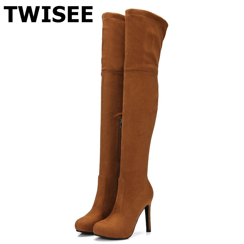 TWISEE sexy Fashion Slip-On Over the Knee Boots New Women Boots Thin Heel 11cm Boot Platform Woman Shoes Black size 34-43 new women suede sexy fashion over the knee boots sexy high heel boots platform woman shoes black blue size 34 43