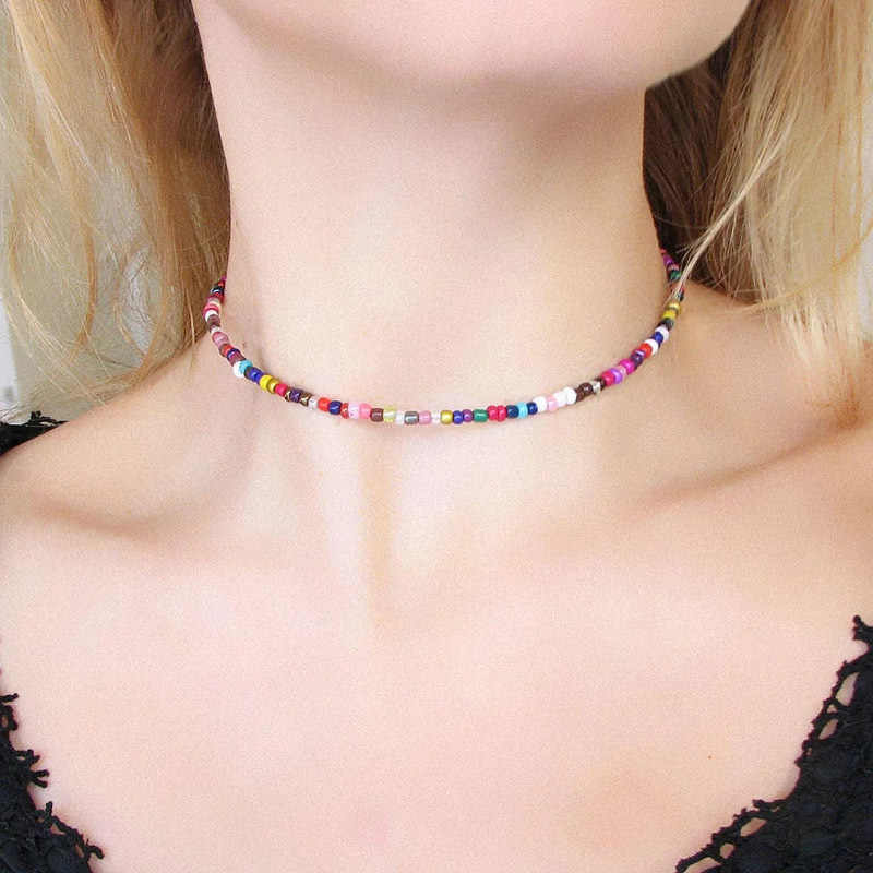 seed bead choker jewelry set bead necklace dainty necklace boho necklace black bracelet one bead choker seed bead Black choker