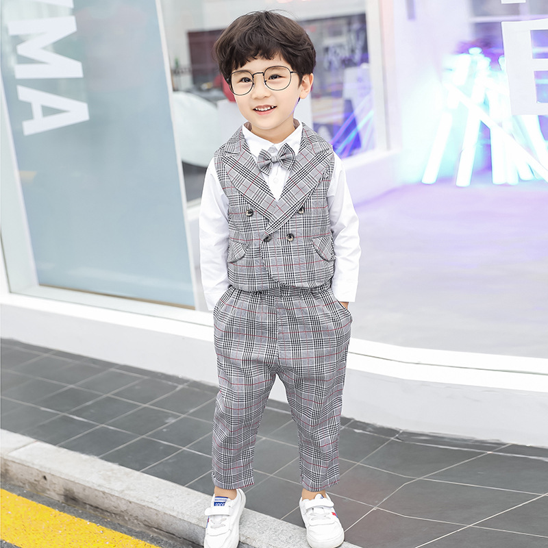 Dollplus Boys Suits for Wedding Child Costume Boy Suits Formal Kids Clothes 3pcs shirt vest pant Children Gentleman Suit in Blazers from Mother Kids