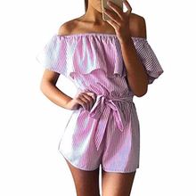 Girl Sexy Casual Playsuit Overalls Summer Women Pink Striped Jumpsuits Ruffles Slash Neck Beach Playsuits