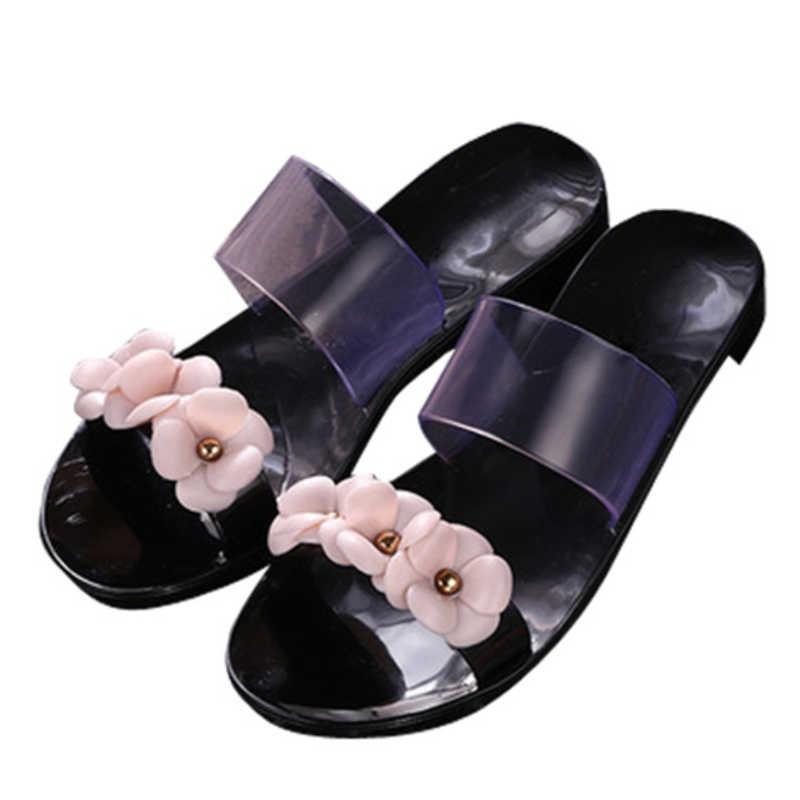 8fea22ac5 ... Womens Girls Summer Jelly Shoes Beach Hot Sandals Slippers Flip Flops  Flat Plastic Flowers Band Casual ...