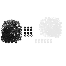 200Pcs Small 4.1mm Plastic Hinged Screw Cover Fold Snap Caps End Protector for Auto Car Furniture Home Decor Black+White uxcell 20 pcs furniture fittings 17mm dia plastic phillips screw caps covers orange black white