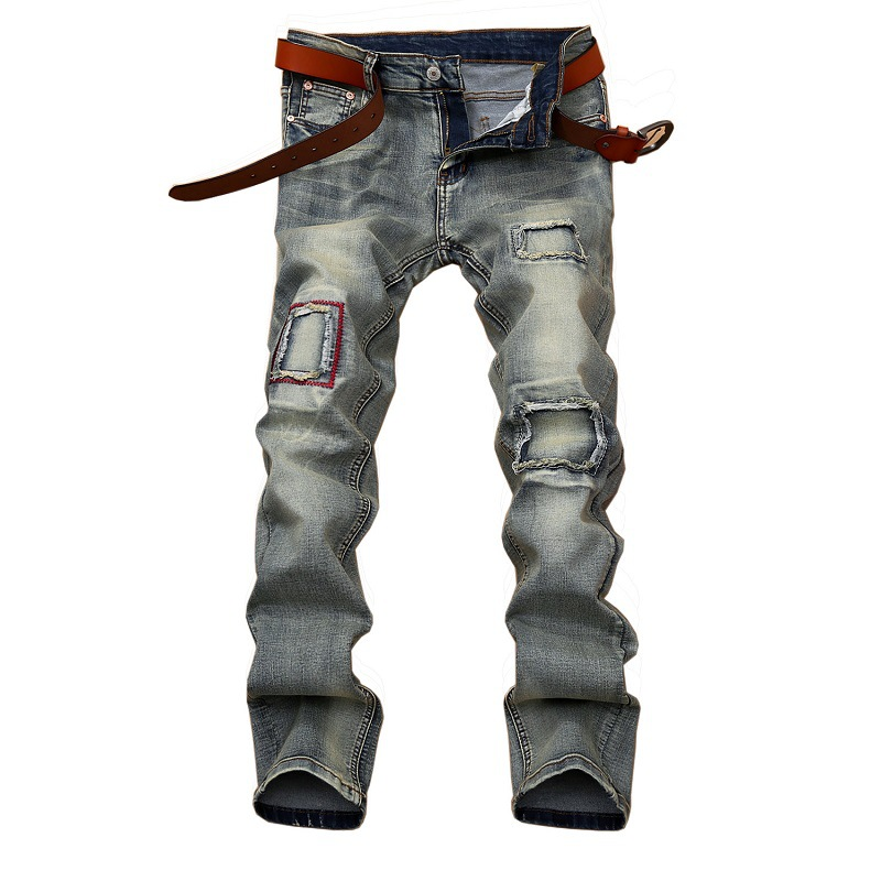 High Quality Men's Fashion Vintage Ripped Biker Jeans Male Casual Straight Patch Denim Jeans Pants Men Long Trousers Jean Hombre 2017 fashion patch jeans men slim straight denim jeans ripped trousers new famous brand biker jeans logo mens zipper jeans 604