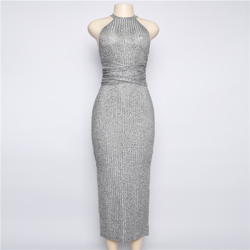 Halter Neck Gray Sleeveless Slit Mid-calf Bodycon Dress