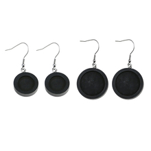 WIWI 10Pcs/lot Fit 20mm 25mm Black Wood Cabochon Stainless Steel Hooks Earrings Base Settings DIY For Jewelry Making Wholesale 30pcs stainless steel french earring hooks clasps settings base settings for diy earrings ear jewelry