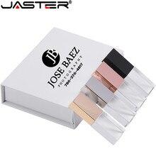 JASTER جديد مخصص شعار كريستال Usb 2.0 ذاكرة فلاش حملة مع صندوق هدية 2GB 4GB 8GB 16GB 32GB 64GB (أكثر من 10 قطعة شعار مجاني)