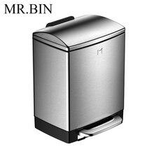 MR. BIN 6L Нержавеющая сталь педаль мусорный бак замедлить и Mute мусорное ведро Anti-fingerprint Экономия пространства мусорные баки для дома