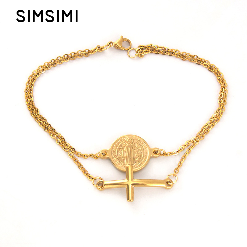 Strict Simsimi Double Layers Saint Benedict And Cross Charm Golden Bracelet Rolo Chain Stainless Steel Jewelry Female Bracelets Customers First