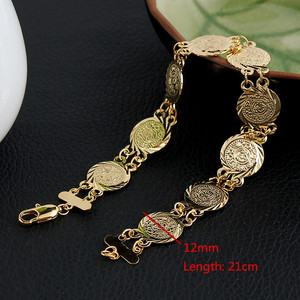 Image 2 - Money Coin Bracelet Gold Color Islamic Muslim Arab Coins Bracelet for Women Men Arab Country Middle Eastern Jewelry
