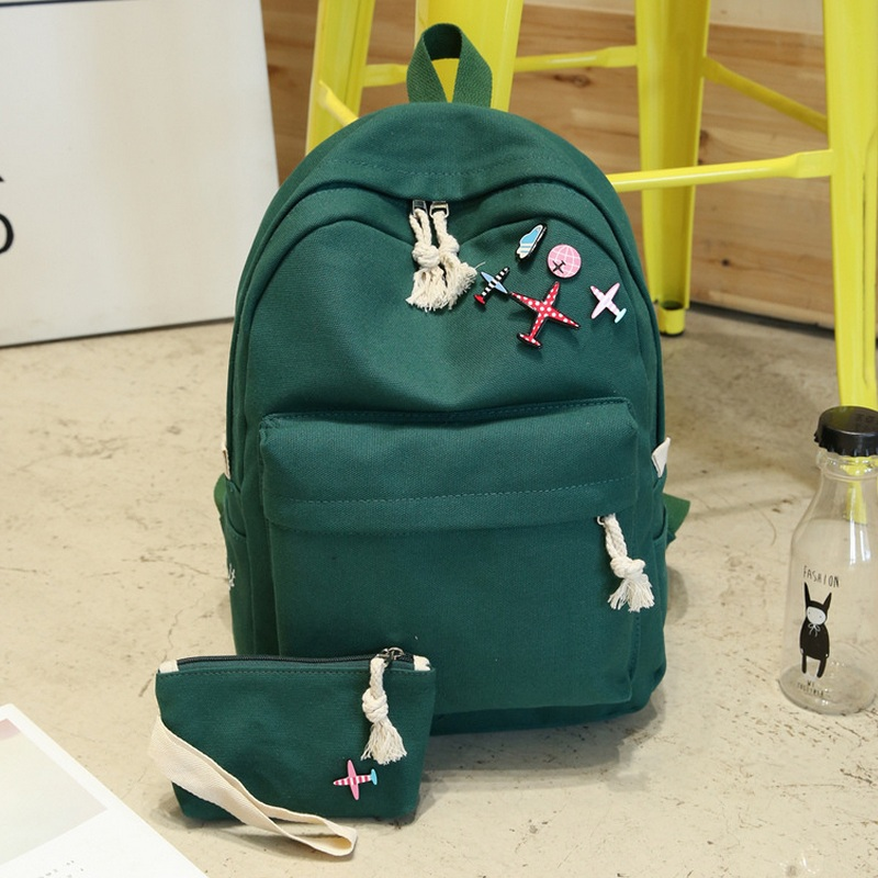 Women Canvas Cartoon Aircraft Badge Backpack Middle Girls School Bags Preppy Casual Back Pack Travel Bag Student Mochila Green vintage cute owl backpack women cartoon school bags for teenage girls canvas women backpack brands design travel bag mochila sac